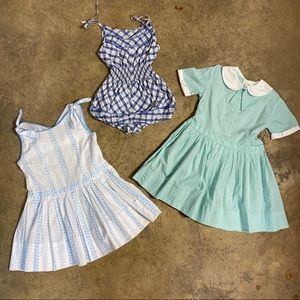 3pc Lot Vintage Cotton Day Dresses / Playsuit